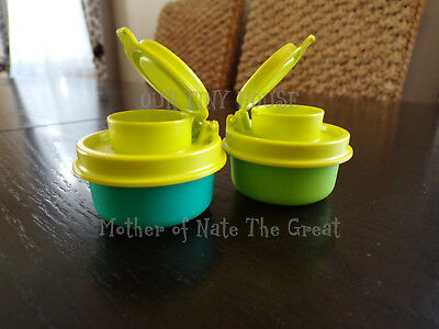 TUPPERWARE SMIDGETS SALT AND PEPPER SHAKERS Spice Small Mini Lime Green & Teal