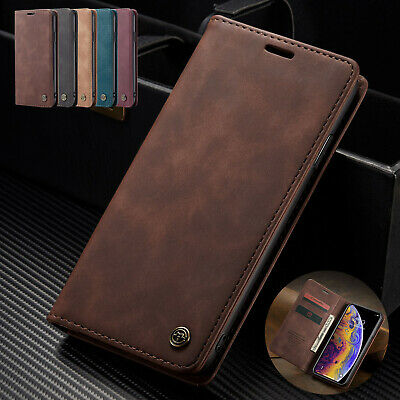 For iPhone XS Max XR 8 7 5 6 Plus Case Retro Magnetic Leather Wallet Stand Cover