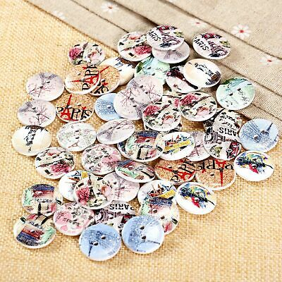 50x 2 Holes Eiffel Tower Wood Buttons Scrapbooking Clothes Sewing DIY Crafts