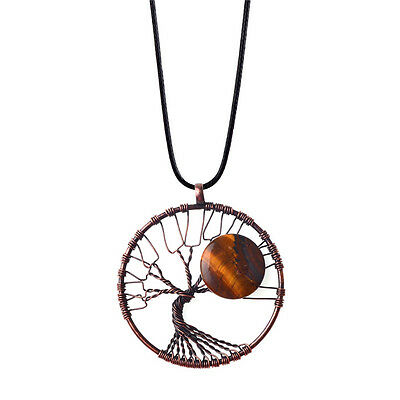 Natural Agate Chip Beads Copper Tree of Life Wrapped Gemstone Pendant Necklace