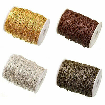 1/10/100M Gold Silver Plated Cable Open Link Metal Iron Chain Findings 0.6x3x2MM