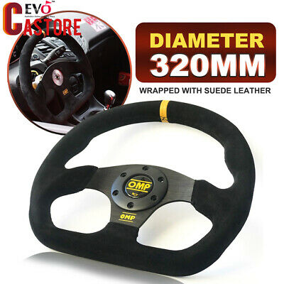 Universal 320mm OMP Black Suede Leather Flat Steering Wheel Drift Rally Yellow