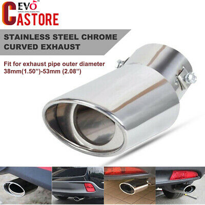 Universal Car Round Stainless Steel Chrome Curved Tail Exhaust Muffler Tip Pipe