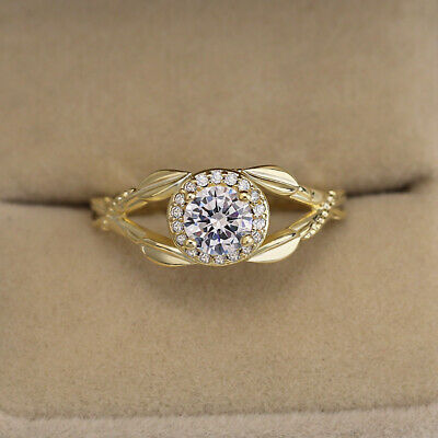 Gorgeous 14K Gold Filled Ring Round Cut Cubic Zirconia Engagement Ring Size 6-10