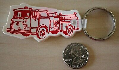 Fire Truck Fire Department Truck Red White Keychain Key Ring #32293