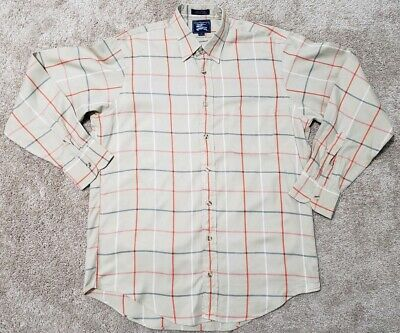 2c53b8be3a Vintage Burberrys sz M Medium Flannel Tan Plaid Long Sleeve Button Down  Shirt