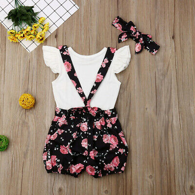 UK Seller Newborn Infant Baby Girls Romper + Bib Pant Outfit Set Clothes Overall
