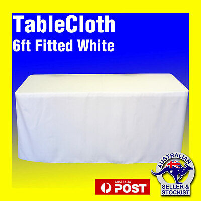 Tablecloths Wedding FITTED Rectangle Table Cloths 6ft White Event Market Trestle