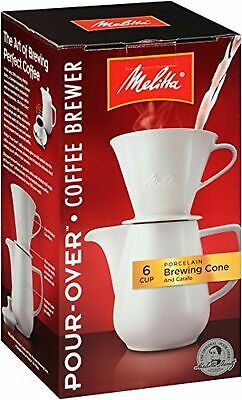 Melitta (640476) 6 Cup Pour-Over Coffee Brewer w/Porcelain Carafe Pack of 1