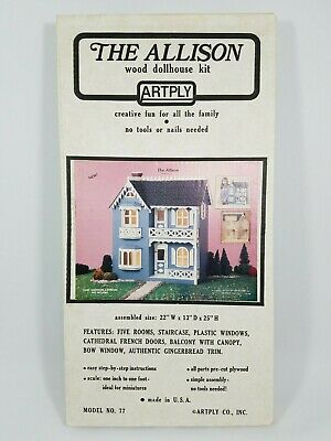 The Allison Vintage Wood Dollhouse Kit No. 77 ArtPly Doll House ~ New SEALED Box