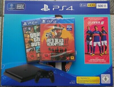 PS4 Playstation 4 Slim 500GB Fifa 19 Red Dead Redemption 2 GTA 5 | NEU OVP V