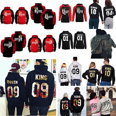 AU King and Queen Couple Matching Hoodies Jumper Pullover Casual Sweatshirt Tops