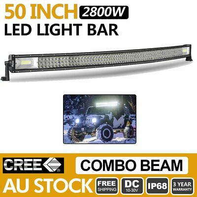 50 inch 2800W Cree LED Light Bar Spot Flood Curved Combo Driving Offroad 4WD UTE