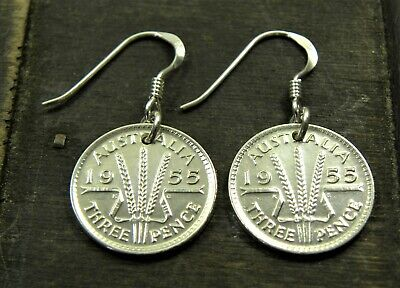 Australian Silver Threepence Coin Earrings/ Sterling Earring Hooks Various Years