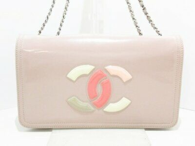 b96be4ed3001 Auth CHANEL Lipstick PinkBeige Ivory Multi Patent Leather Shoulder Bag