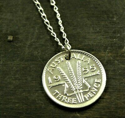 Australian Silver Threepence Coin Necklace + 60cm Sterling Chain - Various Years