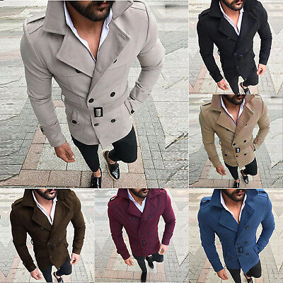 Stylish Mens Slim Fit Trench Coat Double Breasted Jacket Overcoat Peacoat Winter
