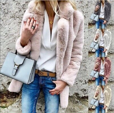 AU Womens Winter Fluffy Faux Fur Warm Coat Cardigan Jacket Parka Outerwear Thick