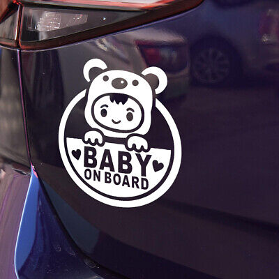 BABY ON BOARD Cute Baby Car Stickers Warning Decals White