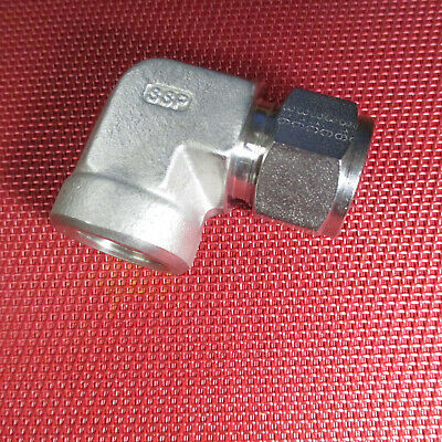 SSP Duolok 5/8 Tube OD x 1/2 NPT Pipe Female ELBOW CONNECTOR 316 Stainless Steel