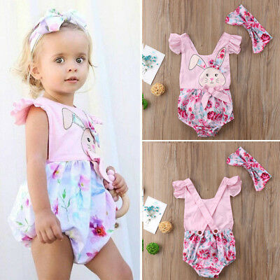 267d5f3a5 Newborn Baby Girl Easter Bunny Romper Floral Bodysuit Jumpsuit Outfits  Clothes