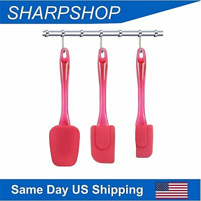 Silicone Spatula Set Flexible Rubber Cooking Spoonula Cake Tools 3pcs Red