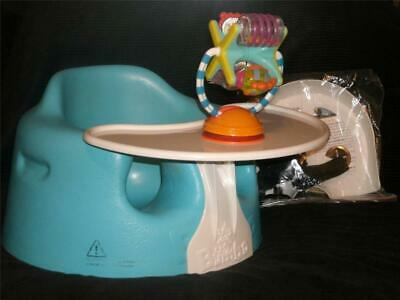 Blue BUMBO Floor SEAT, With  PLAY/Eat TRAY, Restraint + Suction CUP Tray TOY