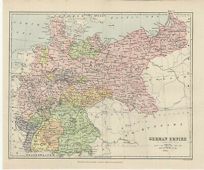 Antique Print - Map Of The German Empire C 1895