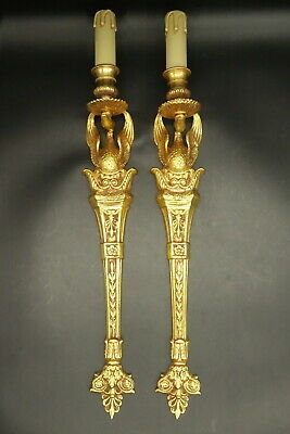 Large Pair Of Sconces, Swans Decor, Empire Style - Bronze - French Antique