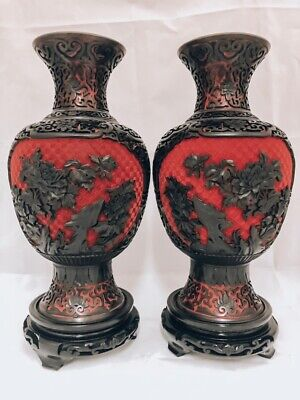 Very Large Cinnabar Lacquer Chinese Red and Black Pair of Vases/Blue Enamel In