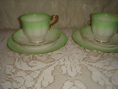 vintage ?art deco royal albert bone china trios x 2 cup saucer plate