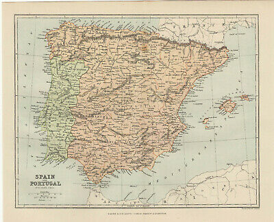 Antique Print - Map Of Spain And Portugal C 1895