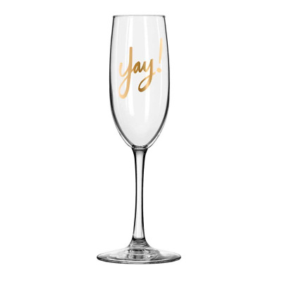 "Easy, Tiger Champagne Flute with Foil, Gold""Yay!"""