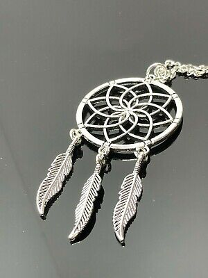 Large Dream Catcher Pendant Silver Tone Native American Boho Necklace Birthday