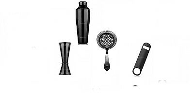 Bartender Kit Colour Glossy Black 4 Pieces Strainer, Julep, Jigger Barman Opener
