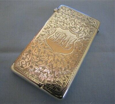 Lovely Solid Silver Floral Scrolled Calling Card Case By Minshull & Latimer 1902