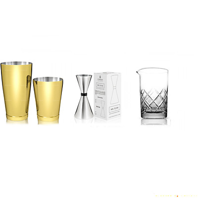 Kit Barman New Gold Style Gold 4 Pieces Mixing Glass Yarai B02