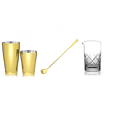 Kit Barman New Gold Style Gold 4 Pieces Mixing Glass Yarai B03