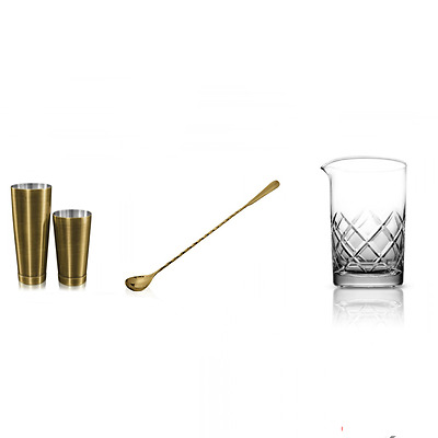Kit Barman New Style Bronze 4 Pieces Mixing Glass Yarai B03
