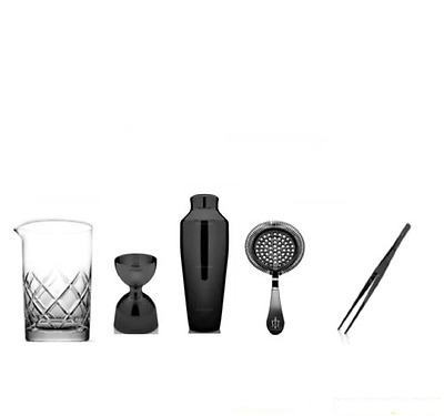 Kit Barman New Black Style Black Plated 5 Pieces Mixing Glass Yarai B01