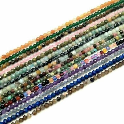 Assorted Faceted Natural Stone Beads For Jewelry Making DIY Bracelet 3mm