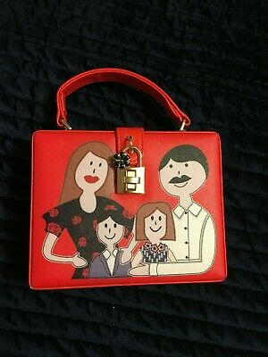 Vintage Red Cross Body Box Bag Kitsch Cartoon Family with Gold Padlock + Suede