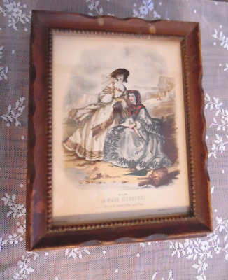 Antique Jewelry Keepsake Box La Mode Illustree Image on Lid Victorian Paris