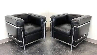 Cassina 'LC2 Petit Modele' Le Corbusier Club Chairs in Leather