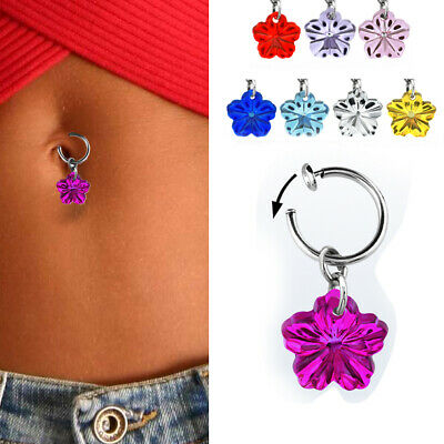 1 4pc Fake Belly Button Clip On Jewelry No Piercing Dangling Hibiscus Flowers Us