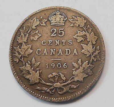 1906 Twenty-Five Cents VG-F ** Very NICE Better King Edward VII Canada Quarter