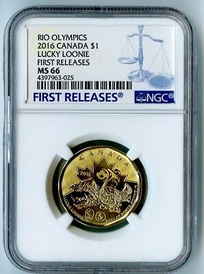 2016 Canada Ngc First Releases Ms66 Rio Olympics Lucky Loonie Dollar $1!