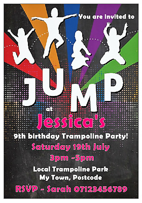 Personalised Childrens Trampoline Party Invitations With Envelopes