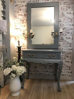Antique Furniture Punctual Solid Mahogany French Chateau Style Antique White Carved Console Hall Table