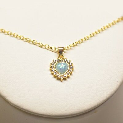 Blue Fire Opal 18K Gold Plated Heart  Pendant 17mm Necklace ITALY